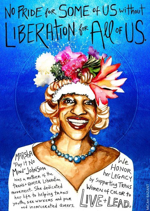 Art piece depicting Marsha P Johnson