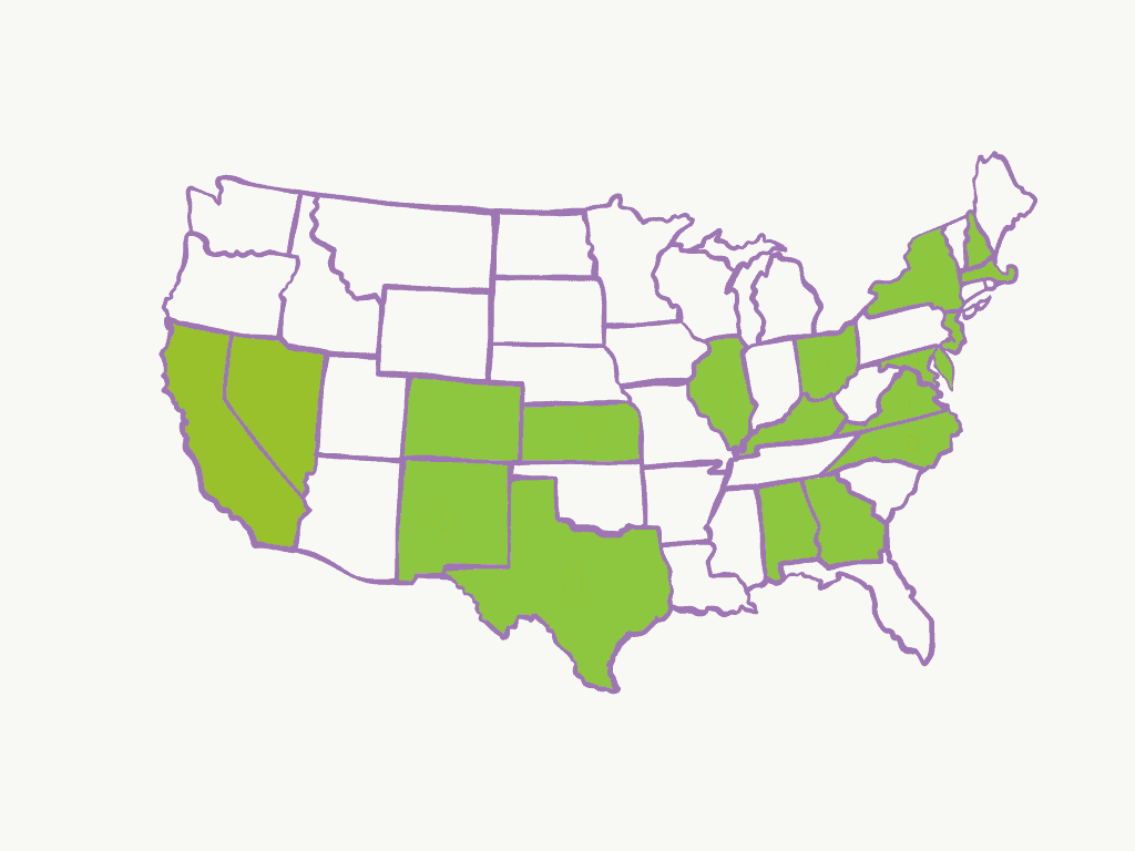 Map of where Handmade By Survivor products have been sold in USA