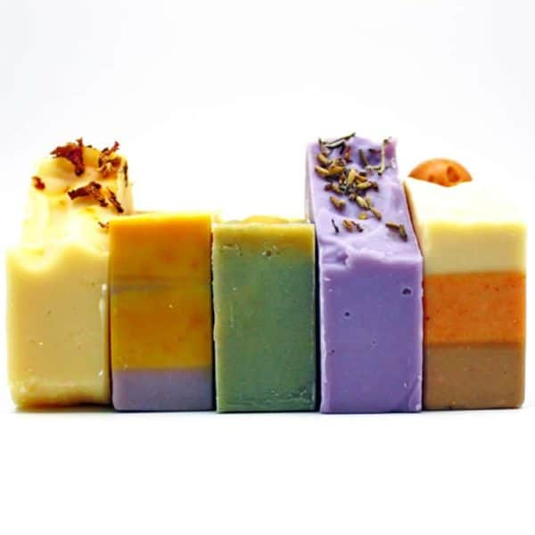 five soap bars lined up