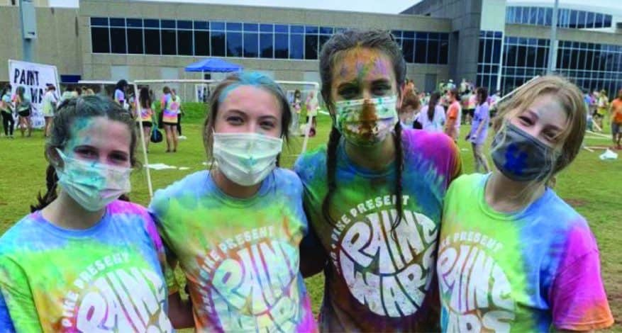 Alpha Chi Omega group photo with masks