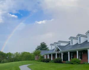 rainbow over GreenHouse17 shelter