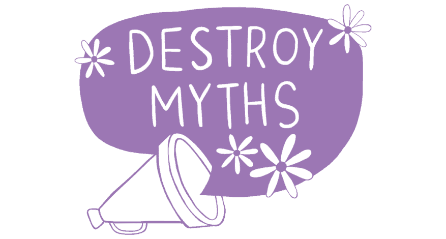 destroy myths with flowers coming out of megaphone