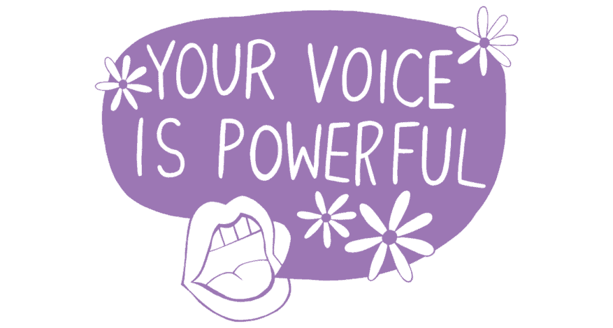 your voice is powerful with flowers and mouth open